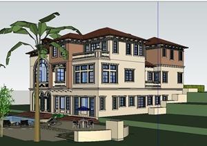 某精致西班牙风格独栋别墅建筑设计SU(草图大师)模型