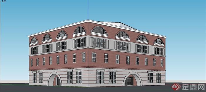 某欧式风格电影院建筑设计SU模型(1)