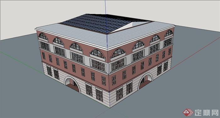 某欧式风格电影院建筑设计SU模型(2)