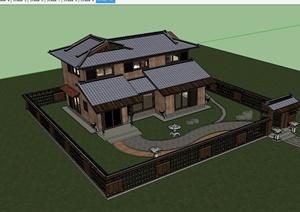 日式风格独栋别墅建筑设计SU(草图大师)模型