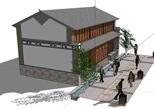 中国古典两层居住建筑楼SU(草图大师)模型