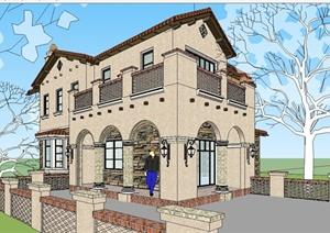 某精细欧式风格独栋别墅住宅建筑设计SU(草图大师)模型
