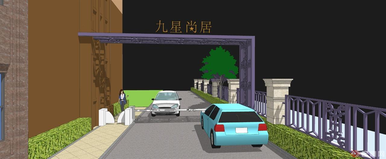 最新大门围墙模型11