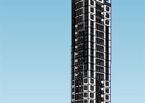 现代高层广播中心建筑设计SU(草图大师)模型