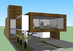某现代风格精致独栋别墅建筑设计SU(草图大师)模型