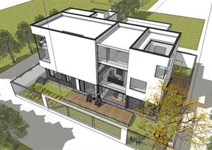 某精美现代风格独栋别墅建筑设计SU(草图大师)模型