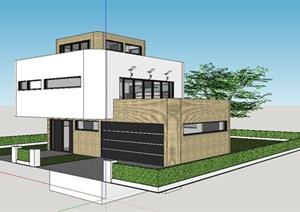 某现代风格精致独栋别墅住宅建筑设计SU(草图大师)模型