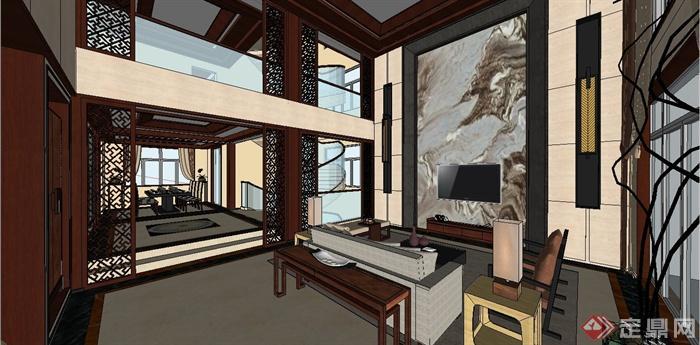某现代中式风格三层别墅室内装饰设计SU模型(1)