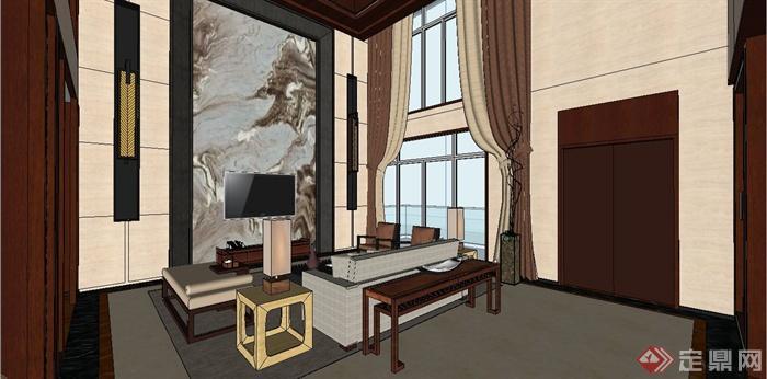 某现代中式风格三层别墅室内装饰设计SU模型(2)