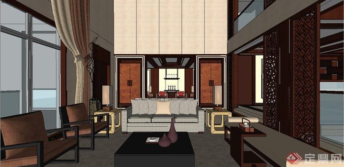 某现代中式风格三层别墅室内装饰设计SU模型(3)