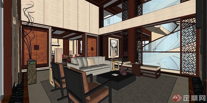 某现代中式风格三层别墅室内装饰设计SU模型(4)