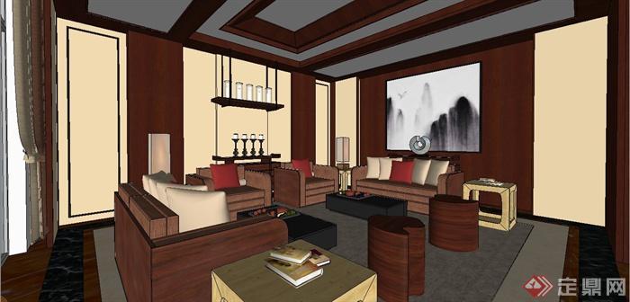 某现代中式风格三层别墅室内装饰设计SU模型(6)
