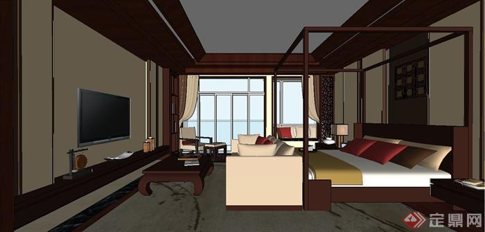 某现代中式风格三层别墅室内装饰设计SU模型(7)