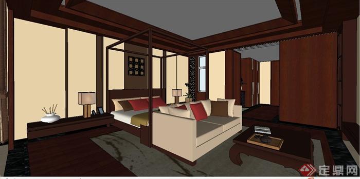 某现代中式风格三层别墅室内装饰设计SU模型(8)