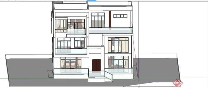某现代中式风格三层别墅室内装饰设计SU模型(10)