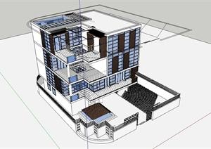 某现代风格简约独栋别墅住宅建筑设计SU(草图大师)模型