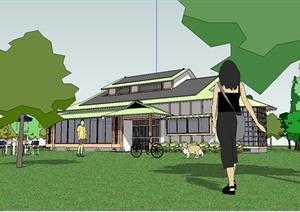 日式风格详细别墅建筑设计SU(草图大师)模型