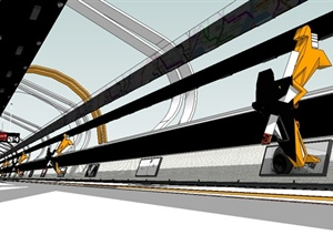 某现代风格交通建筑火车轨道设计SU(草图大师)模型