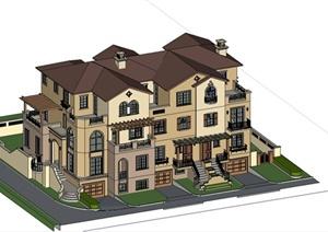 某欧式风格简约联排别墅建筑设计SU(草图大师)模型