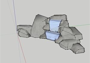 某自然石跌水景观设计SU(草图大师)模型