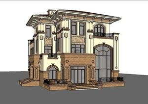 某地中海风格小型独栋别墅建筑设计SU(草图大师)模型