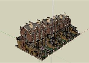 某精美英式风格联排别墅建筑设计SU(草图大师)模型