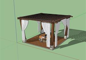 现代风格小型花架凉亭设计SU(草图大师)模型