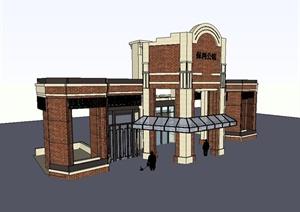 某新古典风格会所建筑构件门设计SU(草图大师)模型