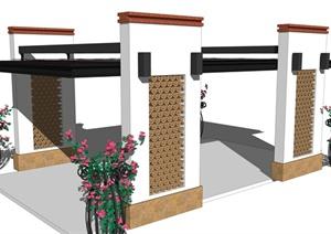 某东南亚风格凉亭建筑设计SU(草图大师)模型
