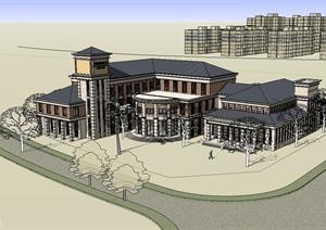 美式风格会所建筑设计SU(草图大师)模型