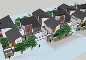 某精美现代中式风格独栋别墅住宅建筑设计SU(草图大师)模型