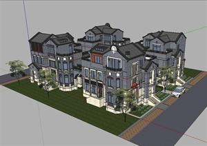 某混搭风格合院别墅建筑设计SU(草图大师)模型