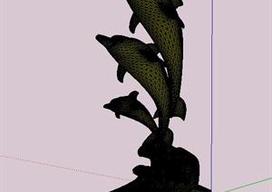 海豚雕塑Su模型