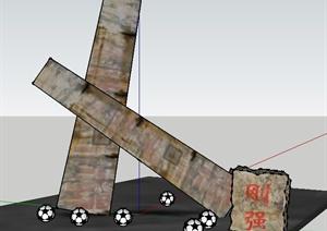景石石头小品设计SU(草图大师)模型