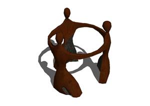 现代风格抽象三人雕塑设计SU(草图大师)模型
