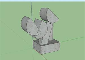 现代风格雕塑小品SU(草图大师)模型