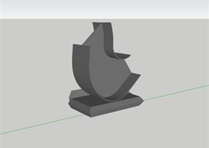现代简单小品雕塑设计SU(草图大师)模型
