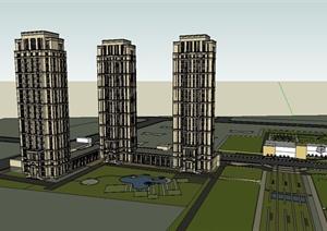 新古典小区高层住宅建筑楼设计SU(草图大师)模型