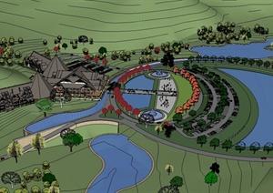 某东南亚风格温泉度假村建筑及景观设计SU(草图大师)模型