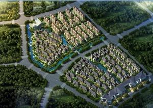 美式风格低多层别墅及花园洋房建筑设计jpg方案文本