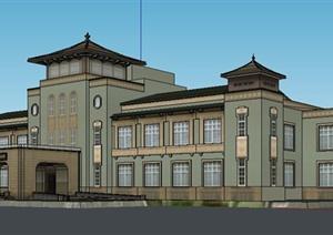 混搭风格多层独栋办公楼建筑设计SU(草图大师)模型