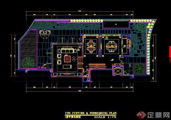 简约中式别墅室内装修设计施工图及效果图(14)