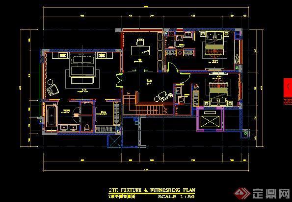 简约中式别墅室内装修设计施工图及效果图(13)