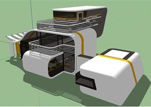 某现代风格创意独栋别墅建筑设计SU(草图大师)模型