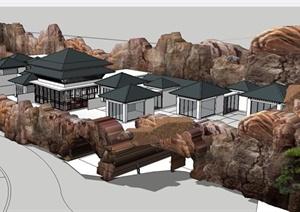 某新中式坡地会所建筑设计SU(草图大师)模型