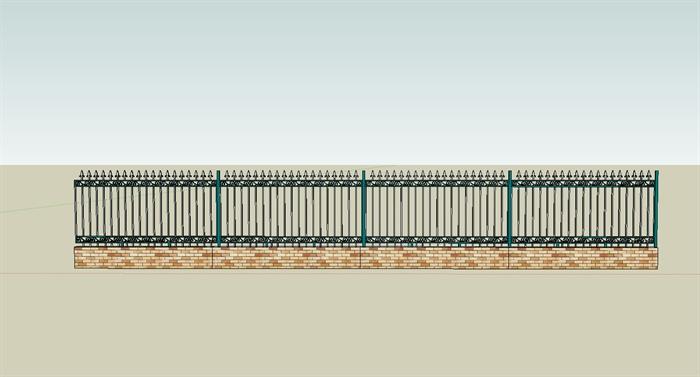 某现代风格小区栏杆围墙设计su模型