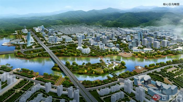 城市景观,滨水城市,城市规划,城市,城市景观效果图