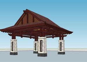某精致东南亚风格凉亭设计SU(草图大师)模型