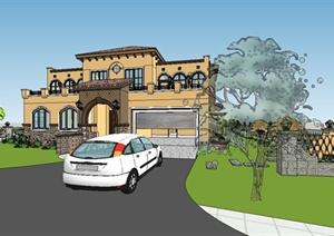 某欧式风格精美独栋别墅建筑设计SU(草图大师)模型