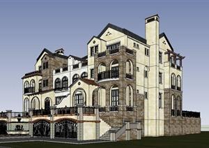 某欧式风格精致双拼别墅住宅建筑设计SU(草图大师)模型